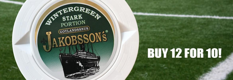 Buy 12 for 10 of Jakobsson's Wintergreen Strong Snus!